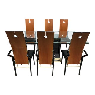 Pierre Cardin Dining Room Set, 6 Keyhole Back Arm Chairs #26406 & Pedestal Table For Sale