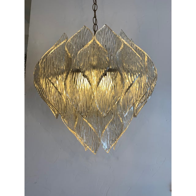 Plastic Mid Century Modern Lucite Chandelier With Layered Petals For Sale - Image 7 of 7