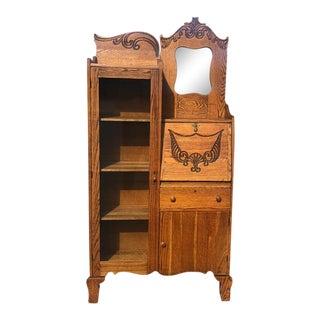 1940s Victorian Larkin Oak Side by Side Bookcase Secretary Desk For Sale