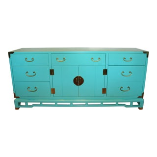 Palm Beach Hollywood Regency Ming Chinoiserie Lacquered Teal Credenza/ Dresser For Sale