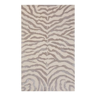 "Edgy Hand-Tufted Bamboo Silk & Wool Zebra Rug- 7' 9"" x 9' 9"" For Sale"