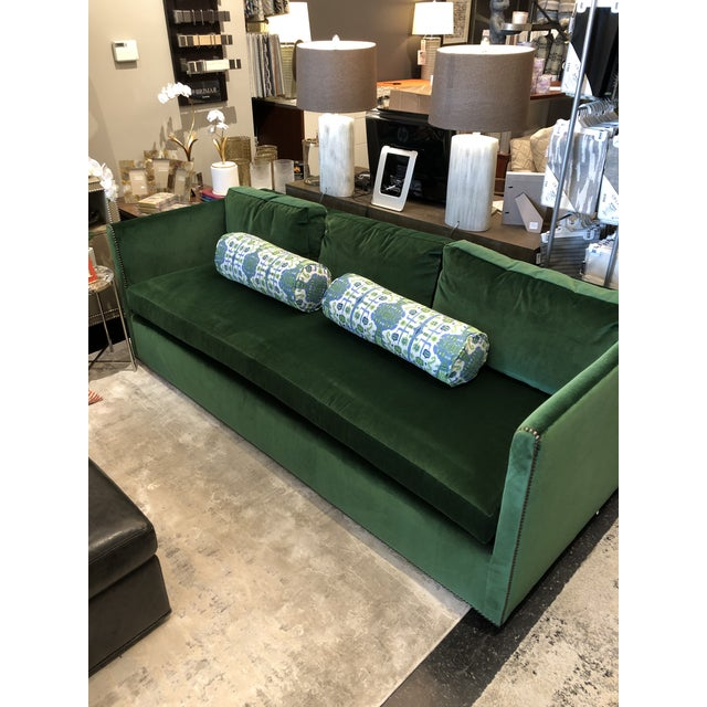 Highland House Keeneth Ludwig Chicago Highland House Emerald Green Velvet Sofa For Sale - Image 4 of 11