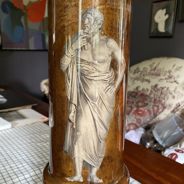 Fornasetti 1950's Fornasetti Attributed Neoclassical Eglomise Lamp For Sale - Image 4 of 9