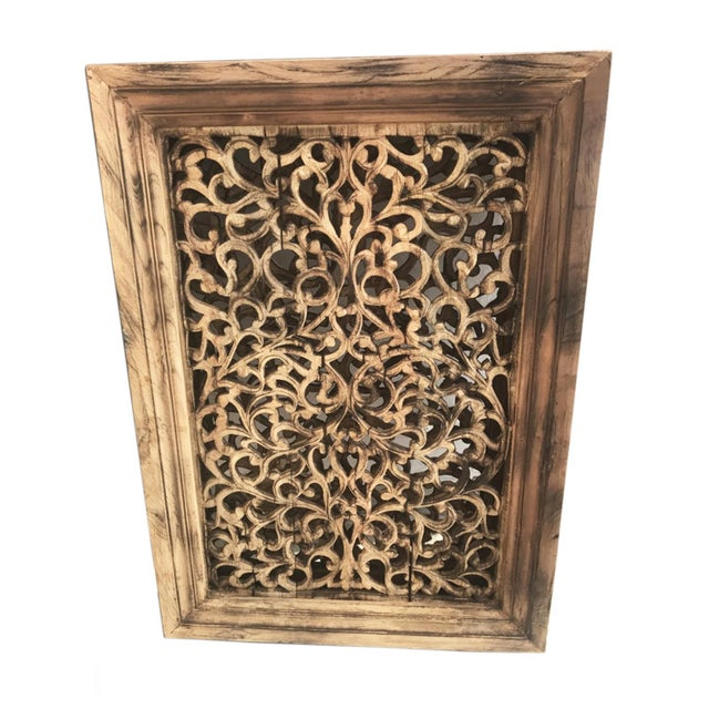 Indian Old Carved Wood Window Screen For Sale - Image 3 of 3