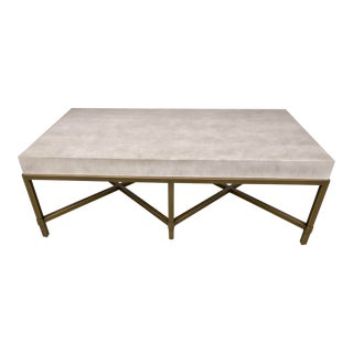 Contemporary Parchment Shagreen Rectangular Coffee Table. For Sale