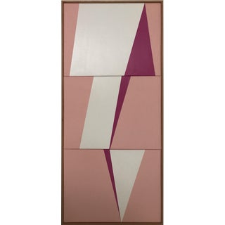 "Original Acrylic Painting ""White Jagged Triptych Jet0551"""