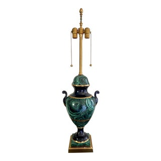 Hollywood Regency Faux Malachite Ceramic Trophy Urn Adjustable Double Light Lamp For Sale