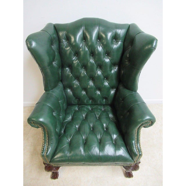 Vintage Chesterfield Style Tufted Ball & Claw Chippendale Wingback Chair - Image 4 of 11