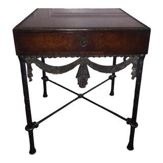 Mid Century Wood and Metal Leaf Side Table