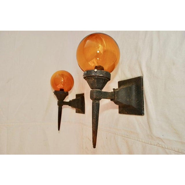 Spanish 1920s Cast Iron Outdoor Sconces - a Pair For Sale - Image 3 of 5