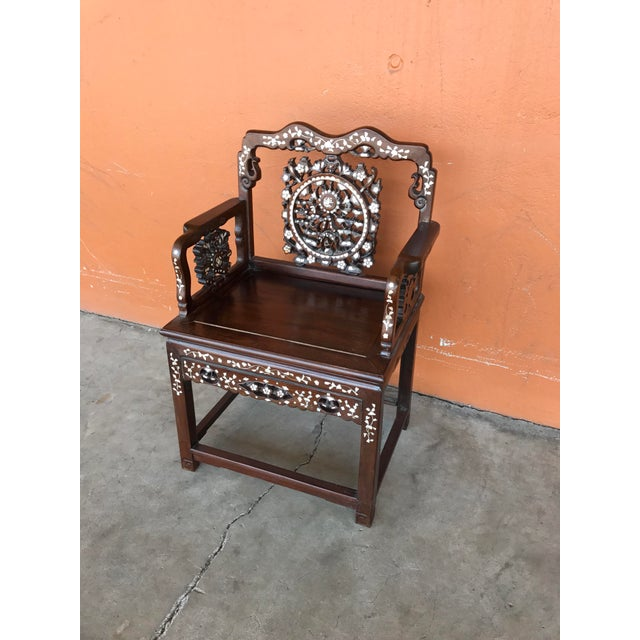 Regal Mother of Pearl Inlaid Asian Side Chair For Sale - Image 4 of 8