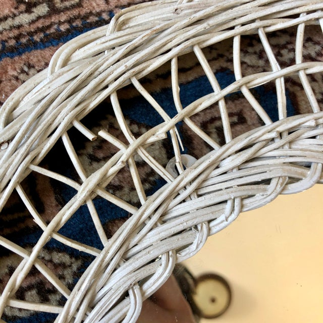 Vintage White Wicker Round Wall Mirror For Sale - Image 9 of 11
