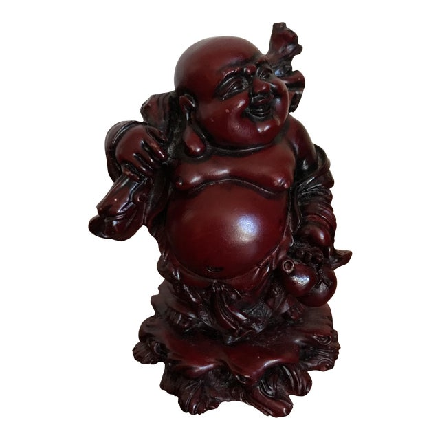 Vintage Red Resin Buddha Statue For Sale