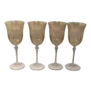 Vintage Cristal D Arques Peach Glass Goblets - Set of 4 For Sale