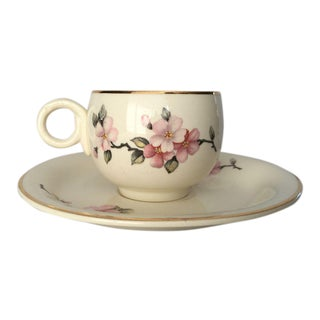 Cottage Style Demitasse Cup and Saucer For Sale