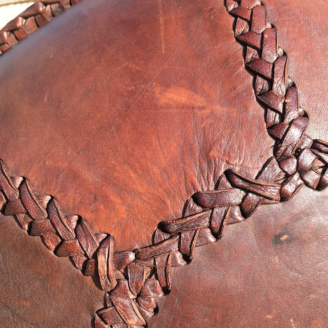 Vintage Bohemian Hand Stitched Leather Floor Pillow - Image 7 of 11