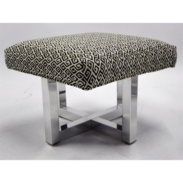 Pair of 1960s Polished Aluminum Upholstered Stools Benches( Two Pairs Available) For Sale - Image 4 of 11