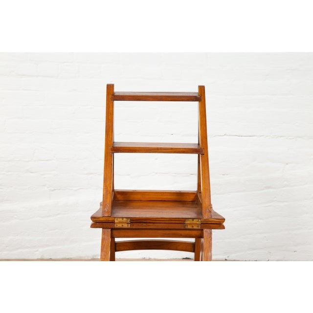 Vintage Dutch Colonial Metamorphic Teak Step Ladder Folding Side Chair For Sale - Image 10 of 13