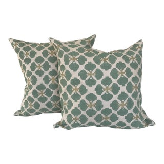 Galbraith & Paul Hand Blocked Linen Pillows - a Pair For Sale