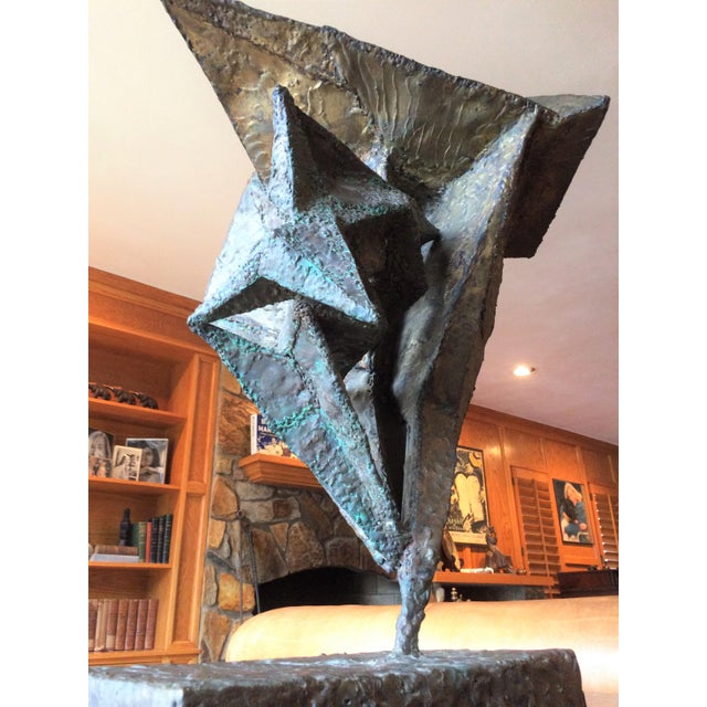 Abstract Geometric Copper and Steel Sculpture For Sale - Image 3 of 8