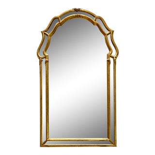 Italian Gold Gilt Carved Wood Arched Wall Mirror For Sale