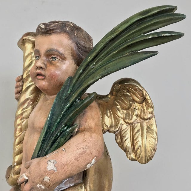 19th Century Italian Hand Carved & Painted Cherub For Sale - Image 9 of 13