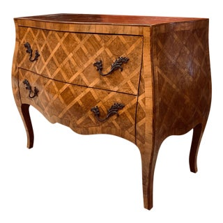 Mid 20th C Italian Inlaid Bombe Chest For Sale