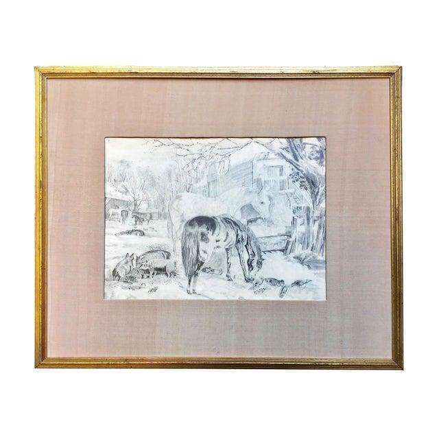 Antique Horses & Barn Yard Animals Original Drawing For Sale