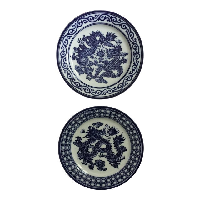 Vintage Chinoiserie Blue and White Asian Foo Dragon Decorative Plates - a Pair For Sale