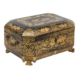 Chinese Export Lacquer Double Tea Chest, Circa 1840.
