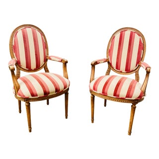 Country French Louis XVI Style Accent Chairs - a Pair For Sale