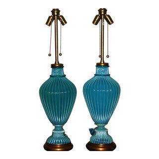 Mid-Century Aqua Murano Glass Lamps by Marbro For Sale