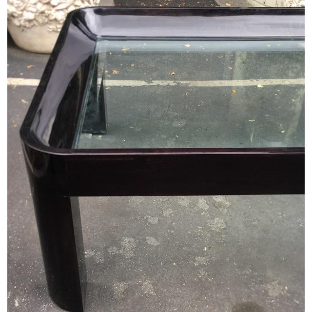 Mid-Century Modern Vintage 1980's Black Lacquer Rounded Corner Coffee Table For Sale - Image 3 of 6