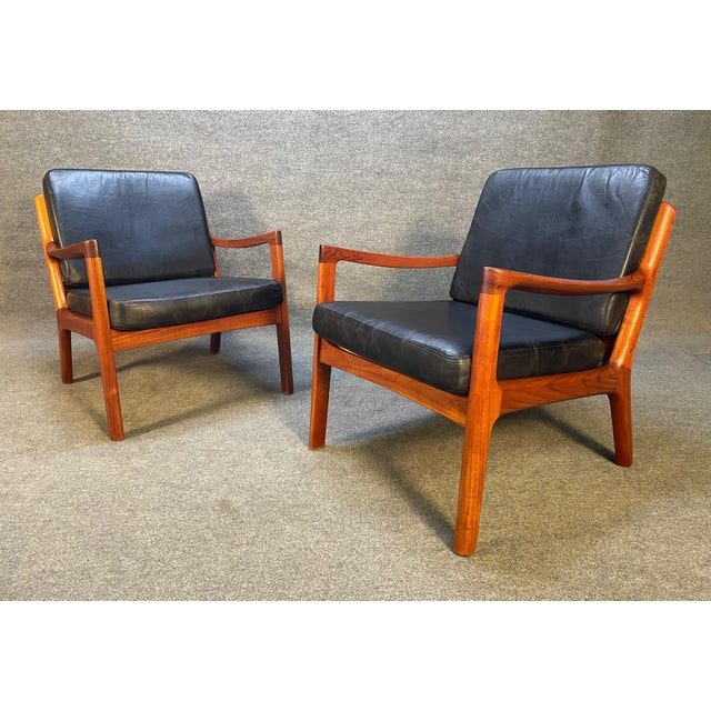 """Pair of Vintage Danish Mid Century Modern Teak and Leather """"Senator"""" Lounge Chairs by Ole Wanscher For Sale - Image 10 of 12"""