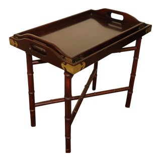 Bamboo Tray Top Table With 2 Trays by the Bombay Company For Sale