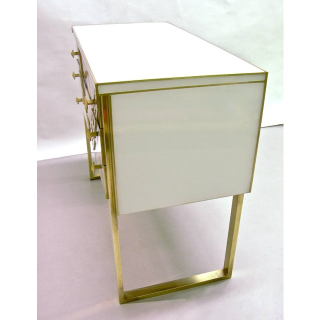 Black 1990s Italian White Black and Gold Chest Sideboard on Brass Legs For Sale - Image 8 of 10