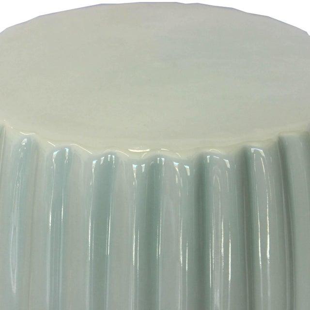 Farmhouse Mint Ceramic Chrysanthemum Stool For Sale - Image 3 of 4