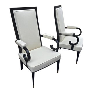 De Coene Majestuous High Back Pair Black Lacquered Arm Chairs For Sale