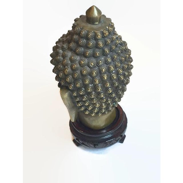 Vintage Tibetan Solid Brass Buddha Bust - Image 4 of 7
