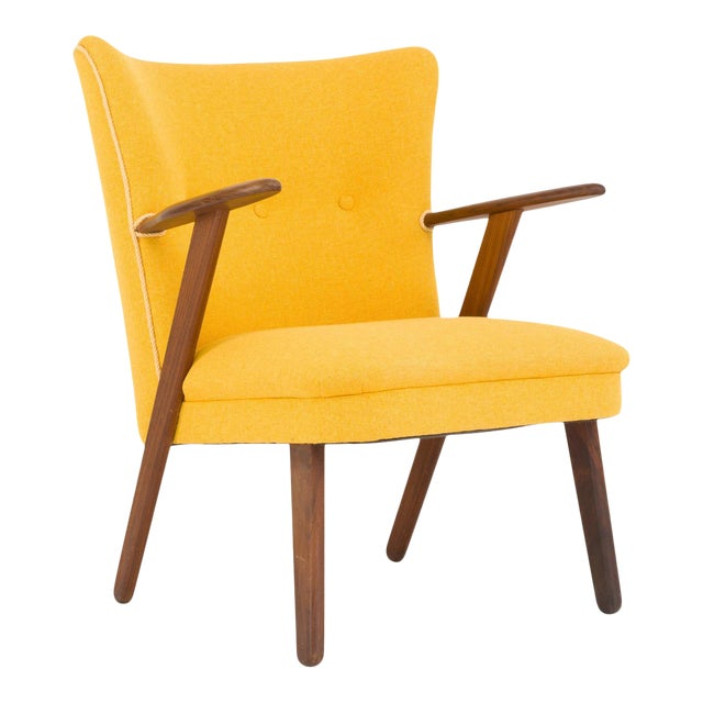 Cocktail Chair Re-Upholstered in Yellow Fabric in the Style of Kurt Olsen, 1950s For Sale