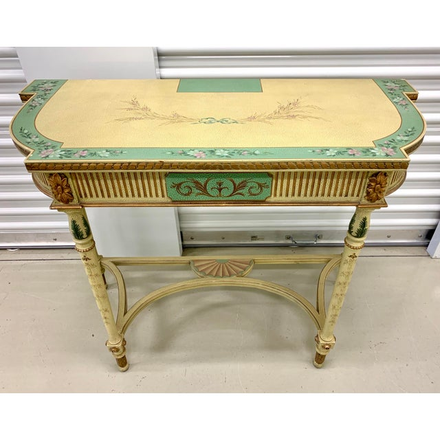 French Country Hand Painted Maitland Smith Console Table For Sale - Image 11 of 11