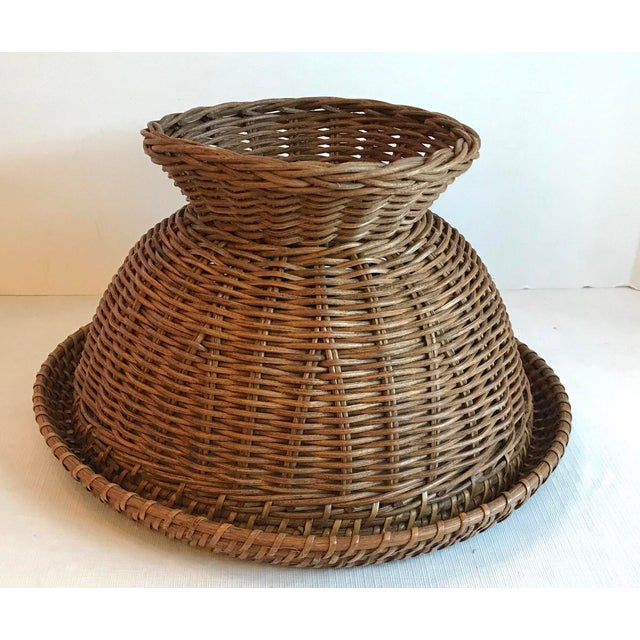 Wicker Vintage Mid Century Natural Wicker Planter For Sale - Image 7 of 8