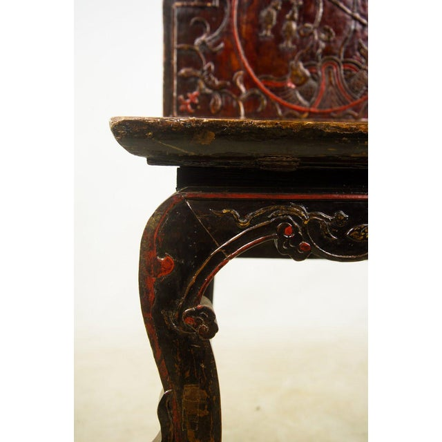 Mahogany Qing Chinese Accent Carved Hall Chairs - a Pair For Sale - Image 7 of 11