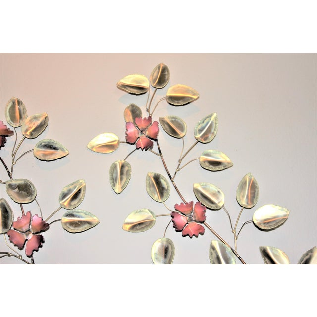 Mid-Century Modern Brass Enameled Floral Signed Wall Art - a Pair For Sale In Dallas - Image 6 of 9