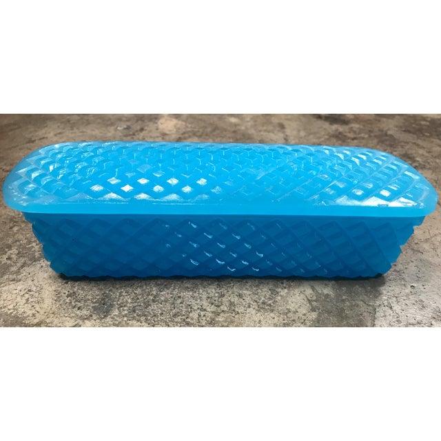 1940s 1940s Art Deco Light Blue Guilloche Enamel Glass Table Box For Sale - Image 5 of 11