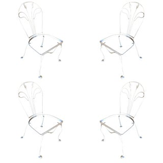 Woodard Tropical Leaf Iron Patio/Outdoor Lounge Chair, Set of Four For Sale