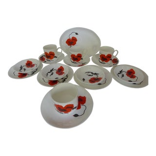 "Susie Cooper for Wedgewood ""Corn Poppy"" Luncheon Sets - Set of 17 For Sale"