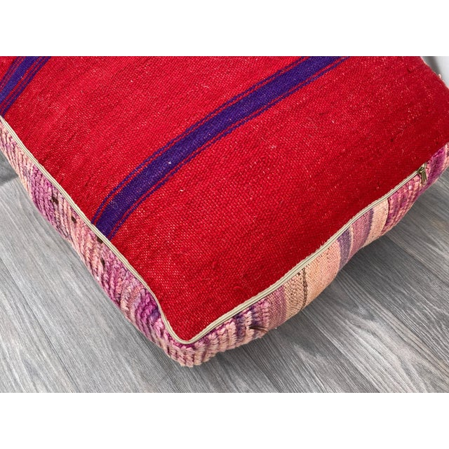 Hand Woven Berber Moroccan Pouf Cover For Sale - Image 10 of 13