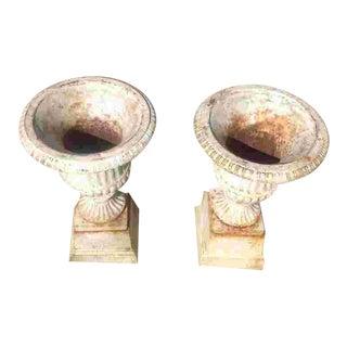 19th Century Cast Iron Garden Urns - a Pair For Sale