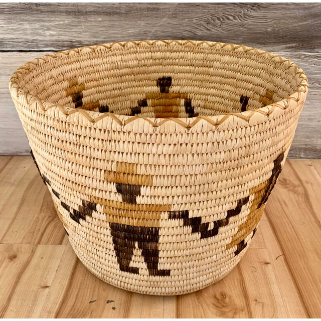 Authentic Vintage Native American Tohono O'Odham Woven Basket For Sale - Image 10 of 10